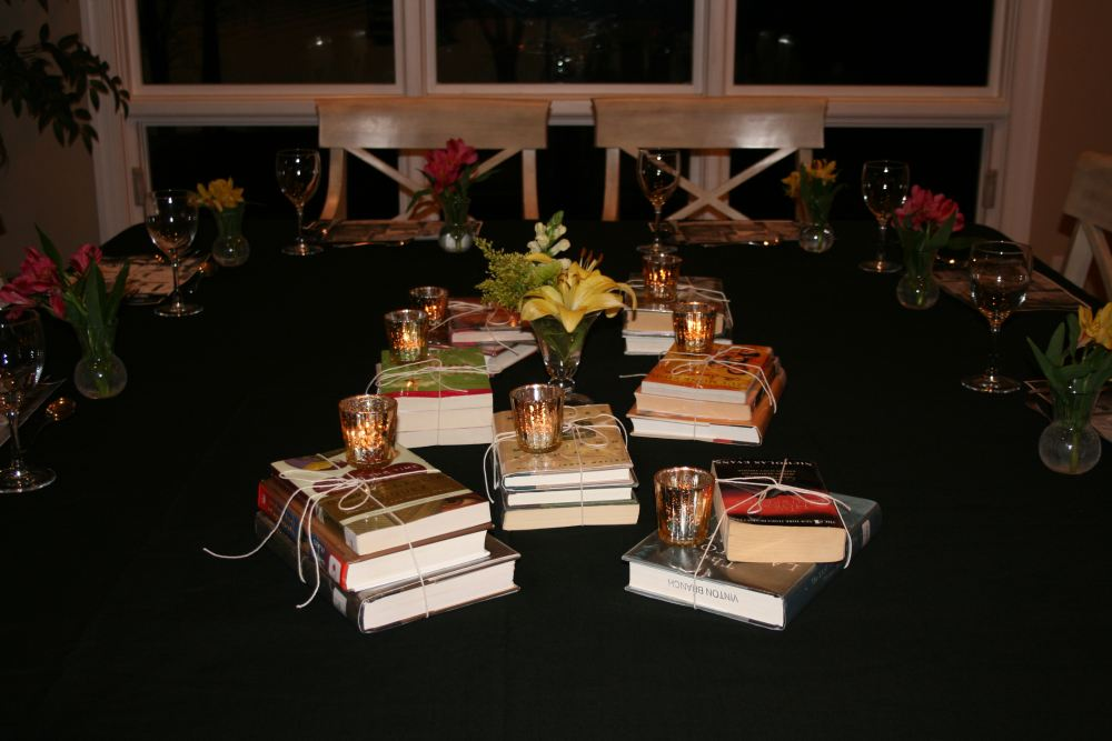 Book Club Dinner Party Entertaining Tablescapes Karen Cromwell - Book table for dinner